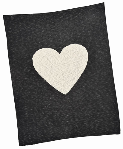 Black Heart Cotton Baby Blanket