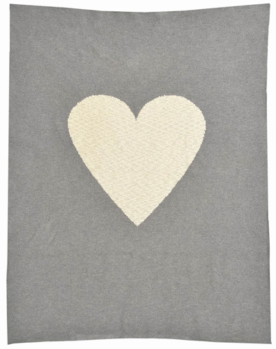 Grey Heart Cotton Baby Blanket