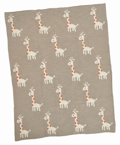 Multi Giraffe Cotton Baby Blanket