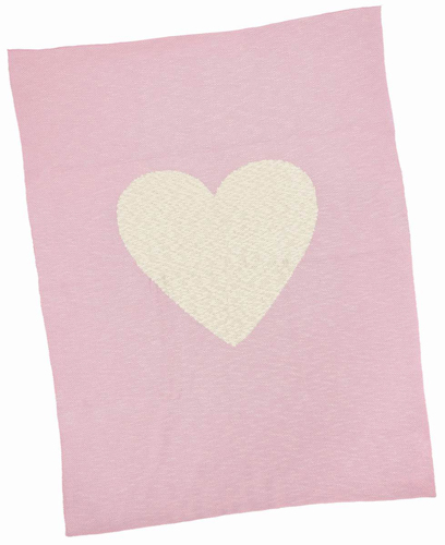 Pink and Cream Heart Cotton Baby Blanket