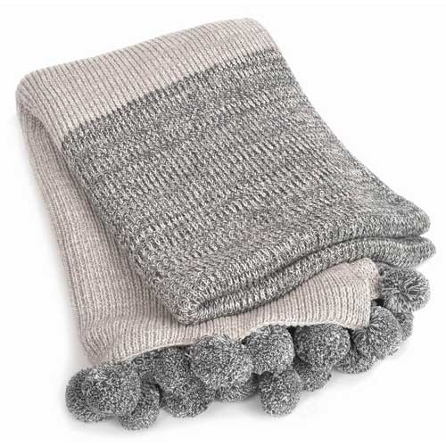 Emma-Pom-Pom-Grey-Cotton-Throw