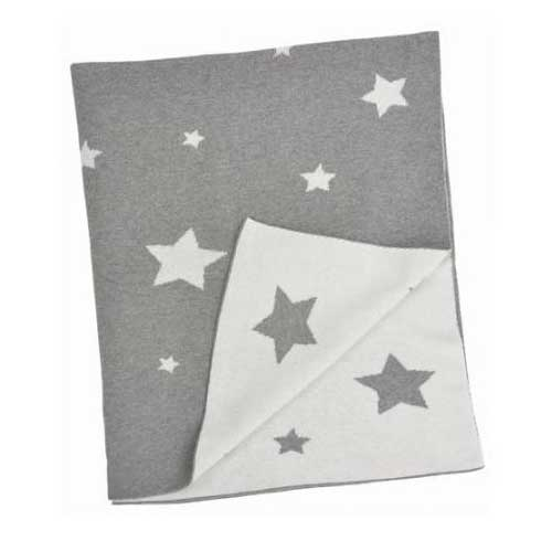 Grey-Multi-Star-Cotton-Baby-Blanket