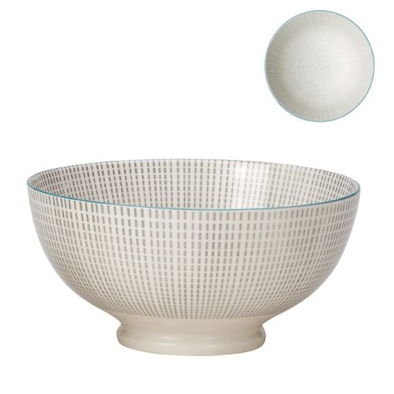 Kiri Large Bowl – Grey with Blue Trim