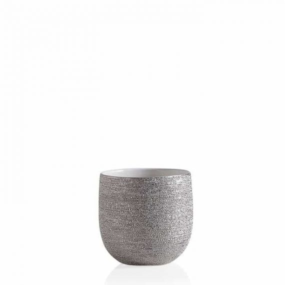 Brava Silver Spun Drop Pot Planter