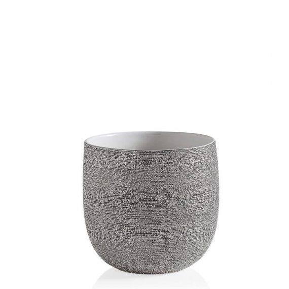 Brava Silver Spun Drop Pot Planter 7.5