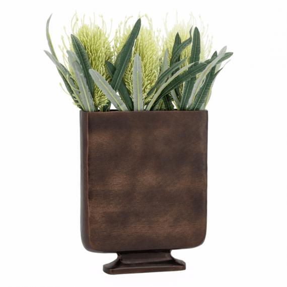 Lyra Etched Short Vase – Bronze