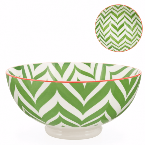 Kiri Large Bowl – Green Zig Zag