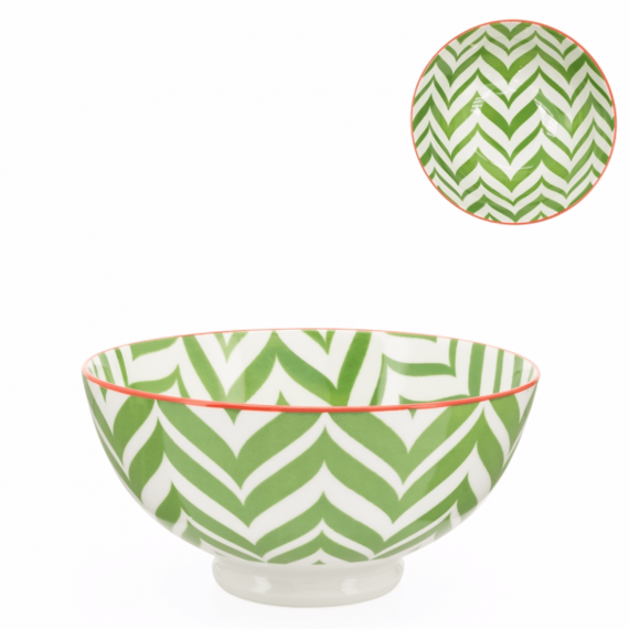 Kiri Medium Bowl – Green Zig Zag