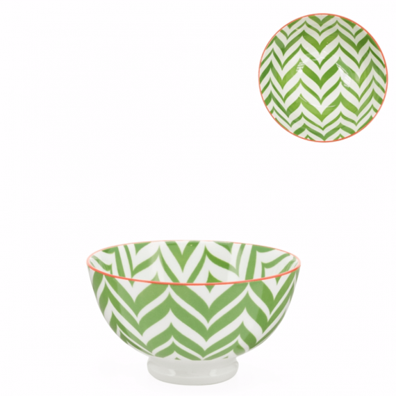 Kiri Small Bowl – Green Zig Zag