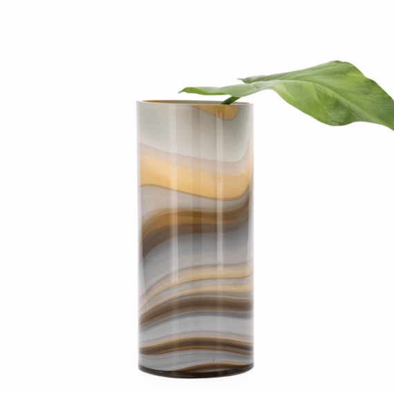 Mesa Marble Swirl 12 Vase – Amber and Smoke