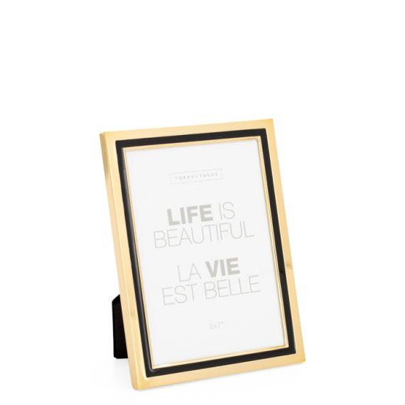 Tuxedo Black Stripe Gold Trim Frame 5×7