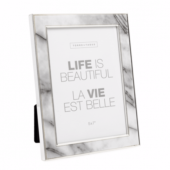 White Faux Marble Frame – 5×7
