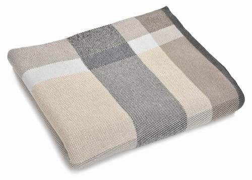 Beige Plaid Cotton Throw